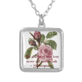 Shakespearian Love Quote and Vintage Red Rose Silver Plated Necklace