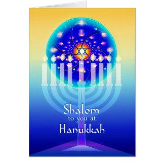 Shalom at Hanukkah Menorah Lights & Star of David. Card