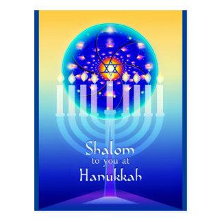 Shalom at Hanukkah Menorah Lights & Star of David. Postcard