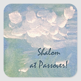 Shalom at Passover White Clouds on Blue Sticker