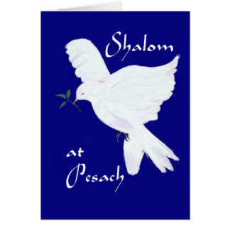 Shalom at Pesach!-White Peace Dove Card
