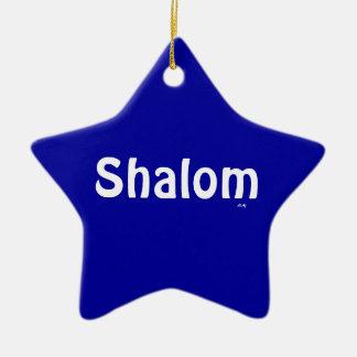 Shalom Blue White Star Ornament