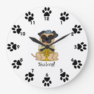 Shalom!-Cute Pug dog with Menorah Large Clock