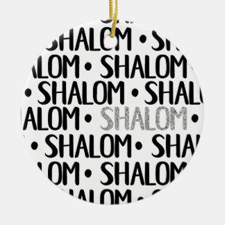 Shalom in Black & Silver Ceramic Ornament