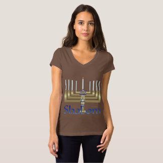 Shalom Menorah Ladies Jersey V-Neck T-Shirt