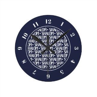 Shalom Pattern in Navy Round Clock