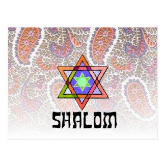 Shalom Pink Paisley Postcard