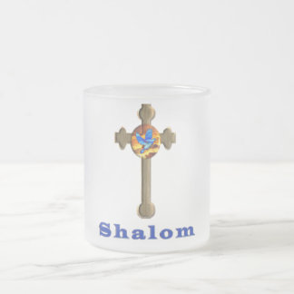 Shalom products frosted glass coffee mug