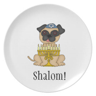 Shalom!-Pug Dog with Menorah Plate