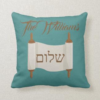 Shalom Torah scroll Blue and Brown Throw Pillow