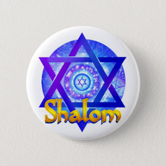 SHALOM with Star of David Medallion 2 Inch Round Button