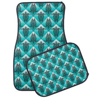 Shamanic Sea Turtles Pattern - cyan Auto Mat