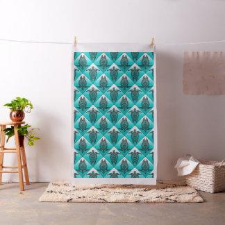 Shamanic Sea Turtles Pattern - cyan Fabric