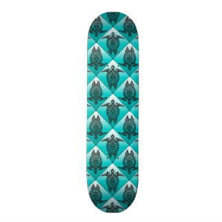 Shamanic Sea Turtles Pattern - cyan Skateboards