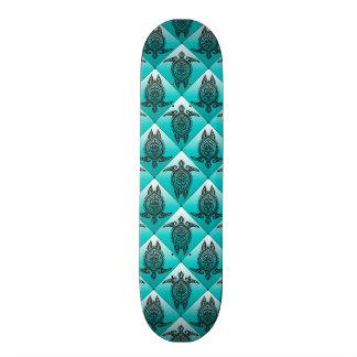 Shamanic Sea Turtles Pattern - cyan Skateboards