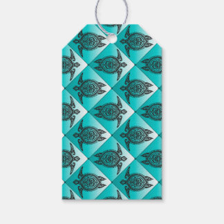 Shamanic Sea Turtles Pattern - cyan + your idea Pack Of Gift Tags