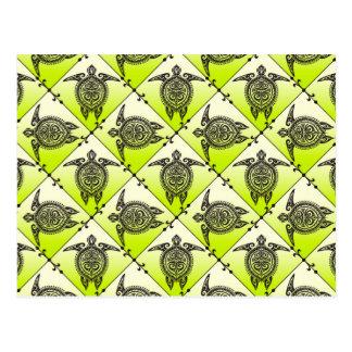 Shamanic Sea Turtles Pattern - green Postcard