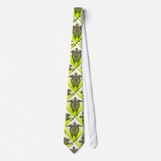 Shamanic Sea Turtles Pattern - green Tie