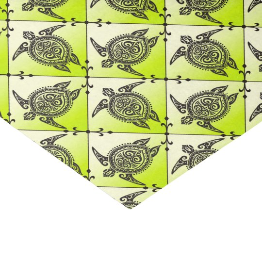 Shamanic Sea Turtles Pattern - green Tissue Paper