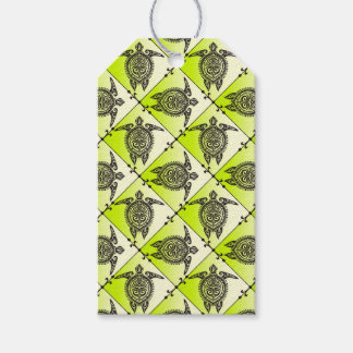 Shamanic Sea Turtles Pattern - green + your idea Pack Of Gift Tags