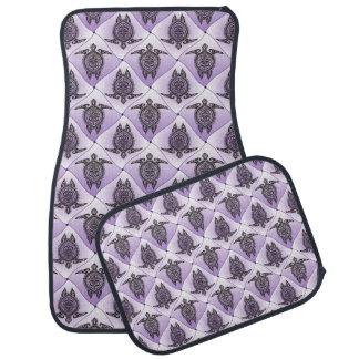 Shamanic Sea Turtles Pattern - violet Auto Mat