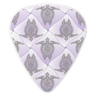 Shamanic Sea Turtles Pattern - violet White Delrin Guitar Pick