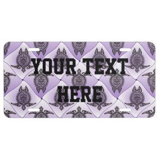 Shamanic Sea Turtles Pattern - violet License Plate