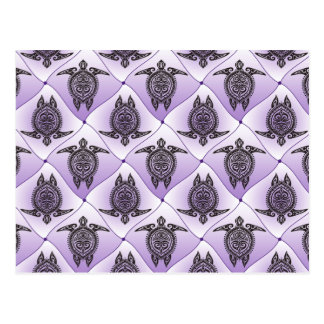 Shamanic Sea Turtles Pattern - violet Postcard