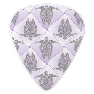 Shamanic Sea Turtles Pattern - violet White Delrin Guitar Pick