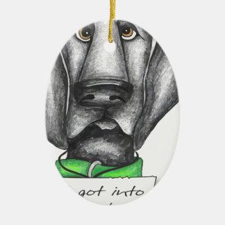 Shaming the Dog Black Lab Ceramic Oval Ornament