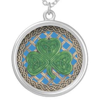 Shamrock And Celtic Knots Necklace Blue