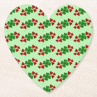 Shamrock and hearts mini pattern paper coaster