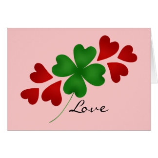 Shamrock and hearts on pink card