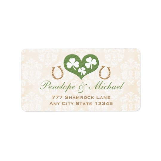 Shamrock and Horseshoe Return Address Label