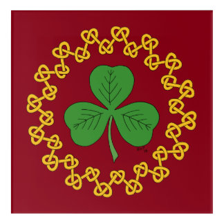 Shamrock and Knotwork on Red Acrylic Wall Art