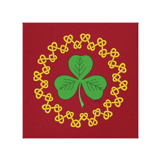 Shamrock and Knotwork on Red Canvas Print