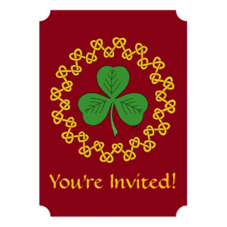 Shamrock and Knotwork on Red Card