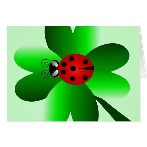 Shamrock and Ladybug Greeting Cards