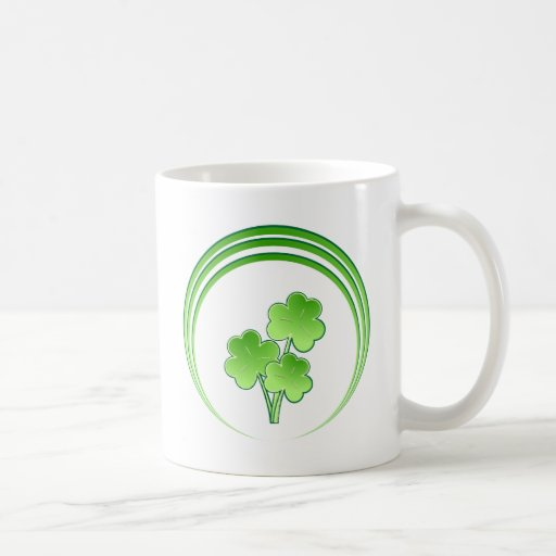 Shamrock bouquet in circles coffee mug