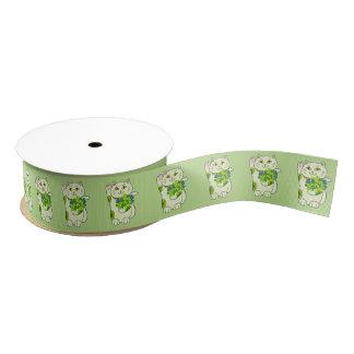 Shamrock Bouquet Maneki Neko (Lucky Cat) Grosgrain Ribbon