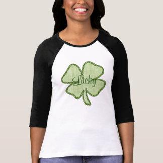 Shamrock chanceux de scintillement t-shirt