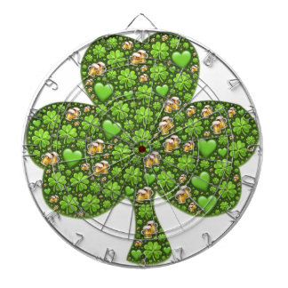 Shamrock Clover Beer St. Patrick's Day, Patty's Dartboard With Darts