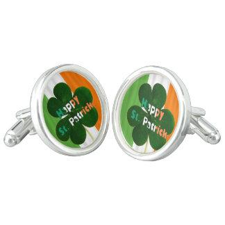 Shamrock Clover Irish Flag Ireland St. Patrick Cufflinks