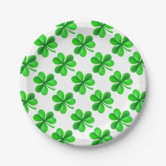Shamrock Clover Leaf 7 Inch Paper Plate