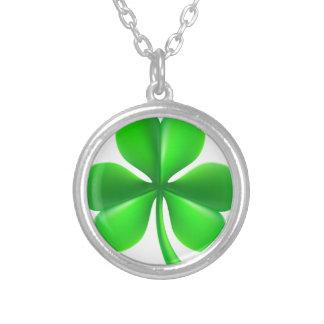 Shamrock Clover Leaf Silver Plated Necklace