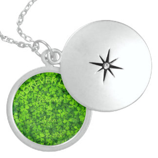 Shamrock Clovers Green Irish Wedding Couple Sterling Silver Necklace