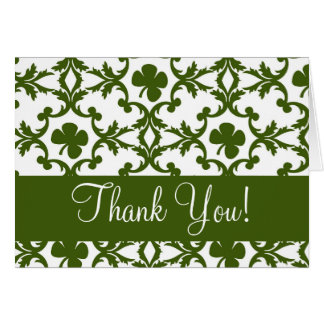 Shamrock Damask Thank You Greeting Cards