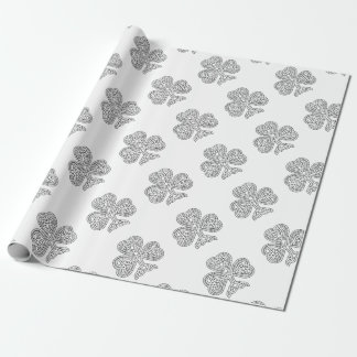 Shamrock Design Black and White Wrapping Paper