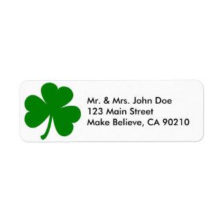Shamrock du jour de St Patrick vert chanceux Étiquettes D'adresse Retour