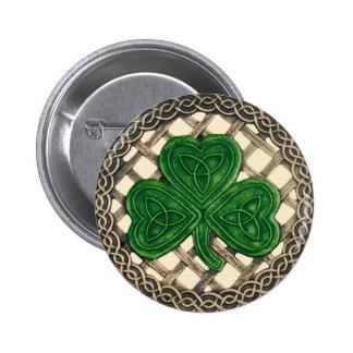 Shamrock et beige celtique de bouton de noeuds macaron rond 5 cm